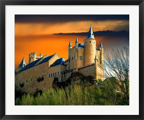 Framed Alcazar castle at sunset, Segovia, Spain Print