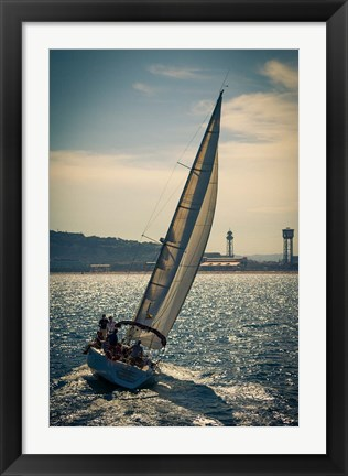 Framed Spain, Barcelona Sailboat on the Balearic Sea just off the Coast Print