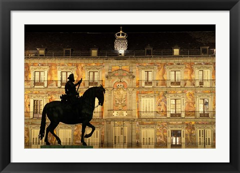 Framed Plaza Mayor by Night, Madrid, Spain Print