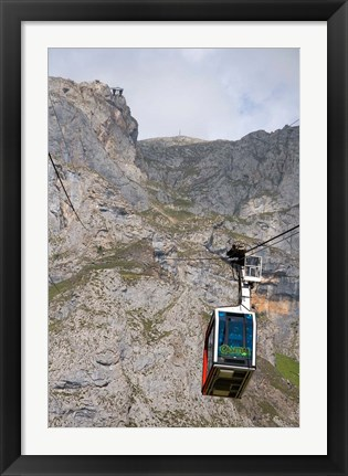 Framed Tram, Picos de Europa at Fuente De, Spain Print