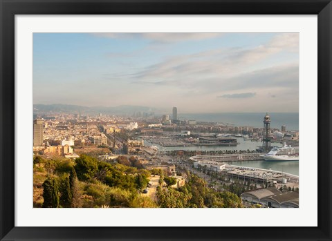 Framed View of Barcelona from Mirador del Alcade, Barcelona, Spain Print