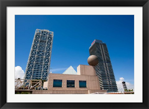 Framed Hotel Arts and Mapfre Tower, Olympic Harbor, Barcelona, Spain Print