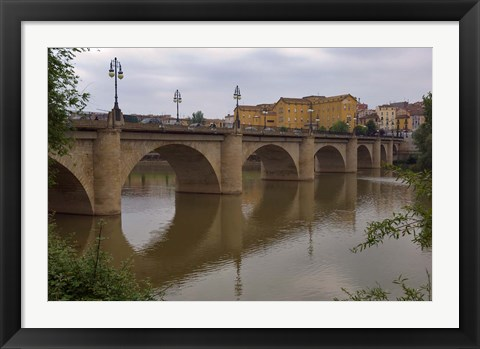 Framed Bridge over Rio Ebro in Logrono, La Rioja, Spain Print
