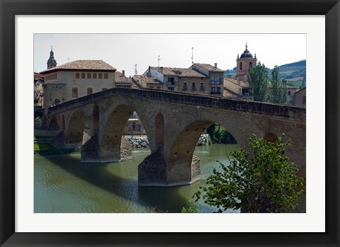 Framed Pedestrian Bridge over the Rio Arga, Puente la Reina, Navarra Region, Spain Print