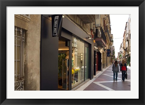 Framed Shopping street in Village of Vilanova i la Geltru, Catalonia, Spain Print