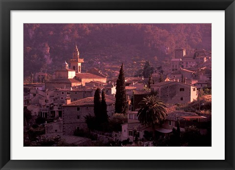 Framed View of Town and Cartuja de Valledemossa, Mallorca, Balearics, Spain Print