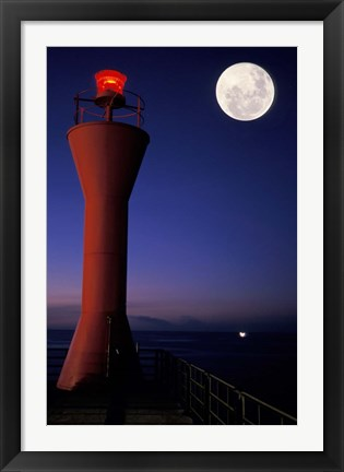 Framed Spain, Teneriffe, Santa Cruz, Lighthouse, full moon Print