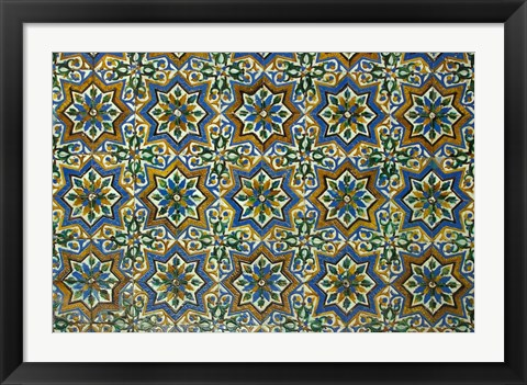 Framed Moorish Mosaic Azulejos (ceramic tiles), Casa de Pilatos Palace, Sevilla, Spain Print
