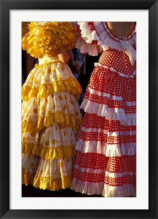 Framed Colorful Flamenco Dresses at Feria de Abril, Sevilla, Spain Print
