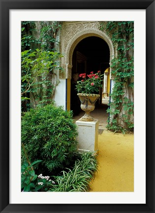 Framed Planter and Arched Entrance to Garden in Casa de Pilatos Palace, Sevilla, Spain Print