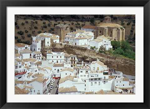 Framed Whitewashed Village with Houses in Cave-like Overhangs, Sentenil, Spain Print