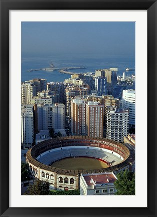 Framed View of Plaza de Toros and Cruise Ship in Harbor, Malaga, Spain Print