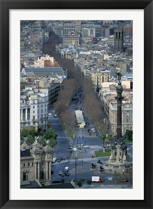 Framed Christopher Columbus Statue on La Rambla, Barcelona, Spain Print