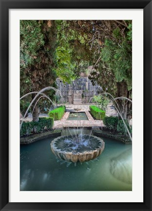 Framed Spain, Granada A Fountain in the gardens of the Alhambra Palace Print