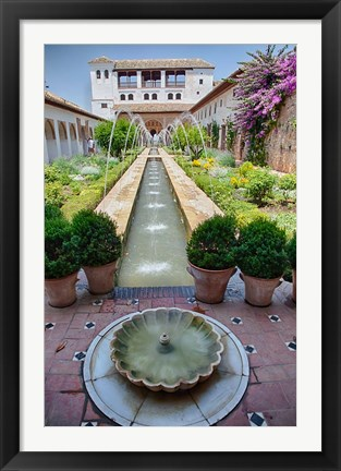 Framed Spain, Granada Patio de la Acequia at Generalife garden Print