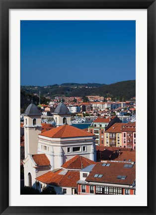 Framed Town View, Ribadesella, Spain Print