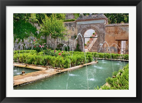 Framed Generalife gardens, Alhambra grounds, Granada, Spain Print