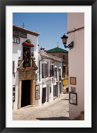 Framed Spain, Andalusia, Cadiz, Arcos De la Fontera Typical Street View Print