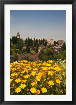 Framed Spain, Granada The Generalife gardens, Alhambra grounds Print