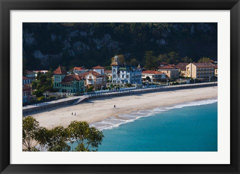 Framed Vacation Homes By Playa de Santa Marina, Ribadesella, Spain Print