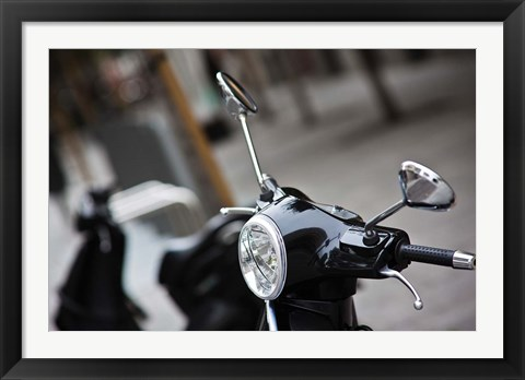 Framed Black Vespa, Madrid, Spain Print