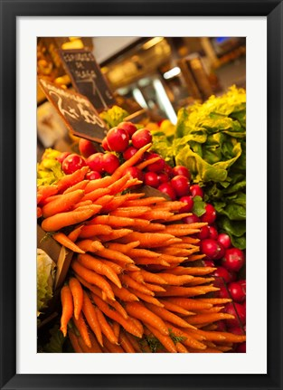 Framed Carrots, Central Market, Malaga, Spain Print