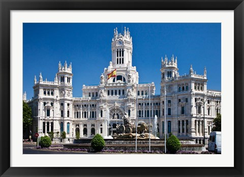 Framed Cibeles Palace is located on the Plaza de Cibeles in Madrid, Spain Print
