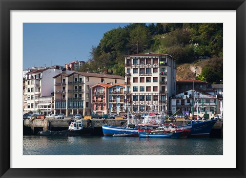 Framed Commercial Fishing Port, Village of Pasai San Pedro, Spain Print