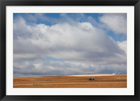 Framed Farm Field In Autumn, Benavente, Spain Print