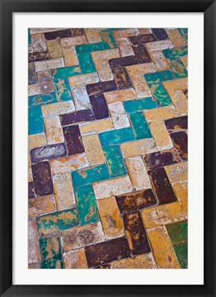 Framed Moorish Tiles, The Alcazar, Seville, Spain Print