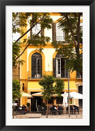 Framed Outdoor Cafes, Plaza de la Merced, Malaga, Spain Print