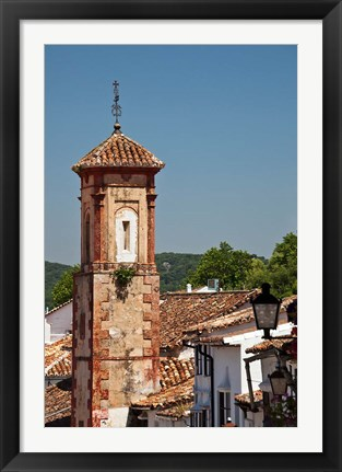 Framed Spain, Andalucia, Grazalema The bell tower of Iglesia de San Juan Print