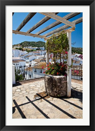 Framed Spain, Andalusia, Cadiz Province Potted plants Overlooking Rooftops Print