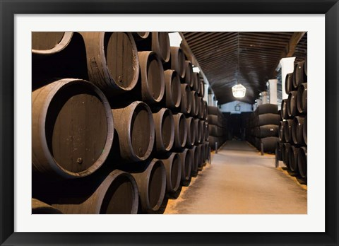 Framed Spain, Bodegas Gonzalez Byass, Winery Casks Print