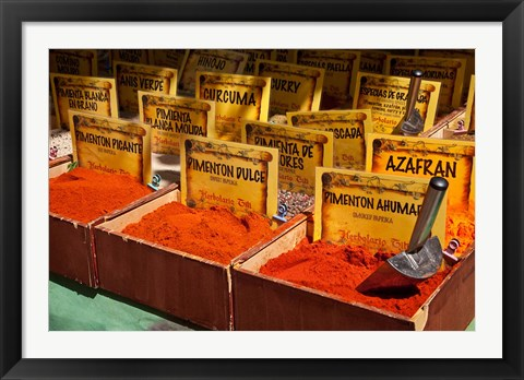 Framed Spain, Granada Spices for sale at an outdoor market in Granada Print