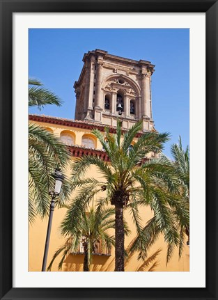 Framed Spain, Granada The bell tower of the Granada Cathedral Print