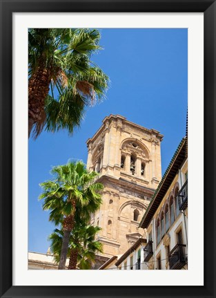 Framed Spain, Granada This is the bell tower of the Granada Cathedral Print