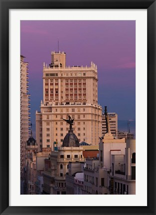 Framed Spain, Madrid, Gran Via and Edificio Espana Print