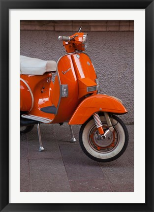 Framed Vespa Scooter, Llanes, Spain Print