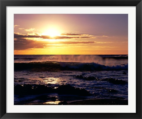Framed Coastline at Sunset, Lanzarote, Canary Isles, Spain Print