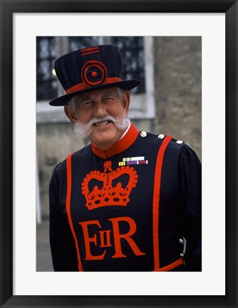 Framed Beefeater in Costume at the Tower of London, London, England Print