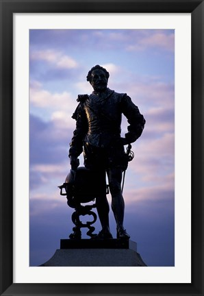Framed Sir Francis Drake Statue, Plymouth, England Print