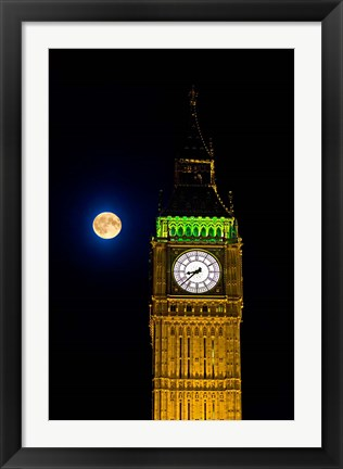 Framed London, Big Ben Clock tower, the moon Print