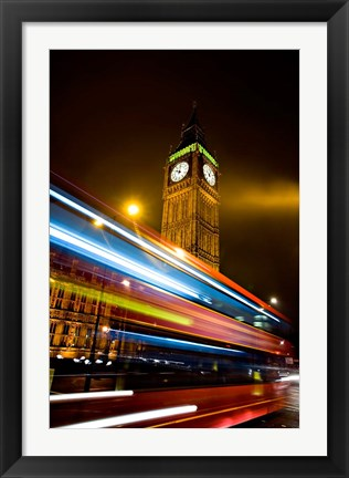 Framed London, Big Ben, Houses of Parliament, Red bus Print