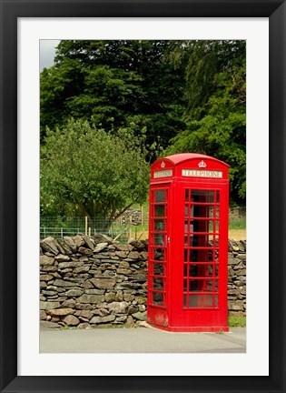 Framed England, Cumbria, Grasmere, Phone Booth Print