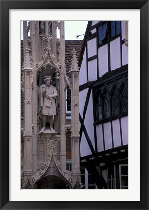 Framed High Street, Village Cross, Winchester, Hampshire, England Print