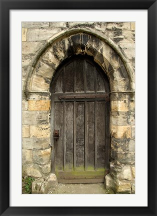 Framed Medieval City Wall Door, York, Yorkshire, England Print