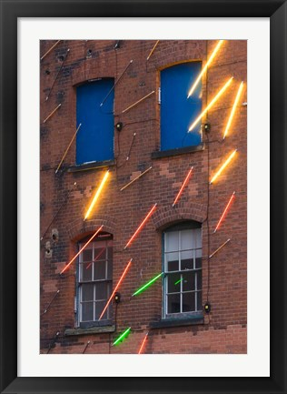 Framed Warehouse Decorated with Neon Art, Southbank, London, England Print
