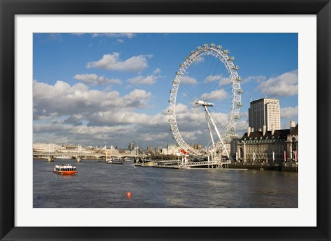 Framed England, London, London Eye and Shell Building Print