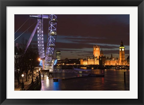 Framed Houses of Parliament and London Eye, London, England Print